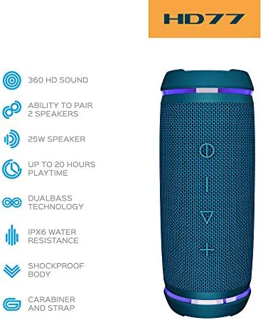 TREBLAB HD77 BLUE - PREMIUM BLUETOOTH PORTABLE SPEAKER - 360° HD SURROUND SOUND - WIRELESS DUAL PAIRING - 25W OF STEREO SOUND - DUALBASS TECHNOLOGY - IPX6 WATERPROOF DESIGN WITH UP TO 20H OF RUN TIME