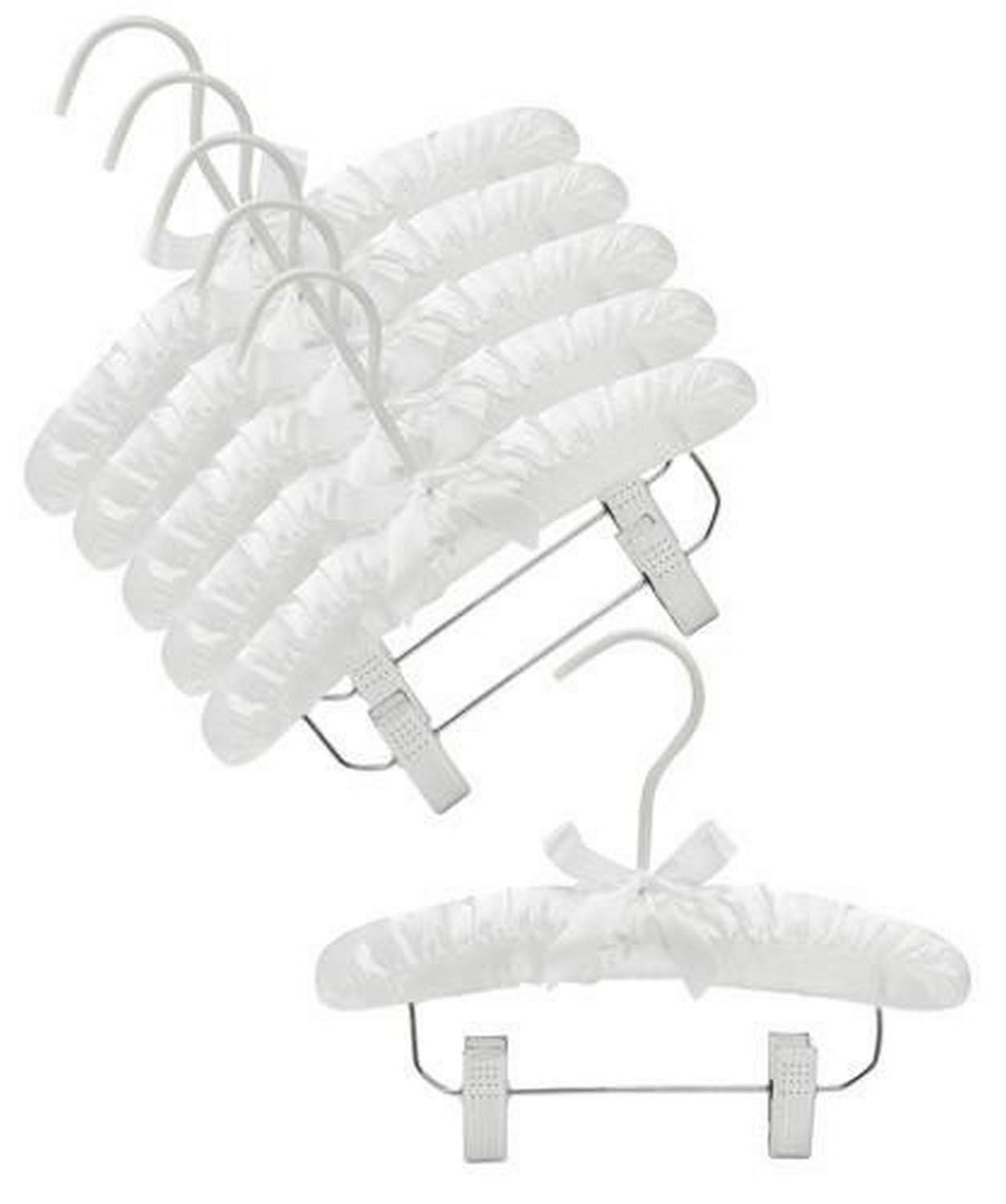 """Only Hangers 10"""" White Baby Satin Padded Hangers with Clips- Pack of (6)"""