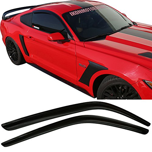 Window Visor Fits 2015-2017 Ford Mustang | Acrylic Smoke Tinted 2PCS Sun Rain Shade Guard Wind Vent Air Deflector by IKON MOTORSPORTS | 2016
