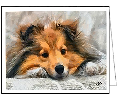 (Shetland Sheep Dog - Sleeping Sheltie Blank Note Cards - Set of 6 with Envelopes by DoggyLips.Com)