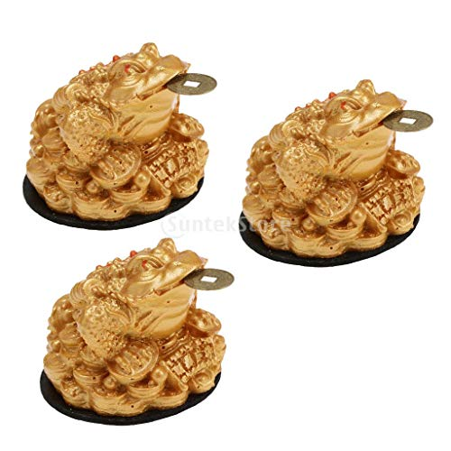 Figurines Miniatures - 3x Feng Shui Money Lucky Tune Wealth Success Symbol Frog Toad Coin Home Office Tabletop Decor - For Christmas Kids