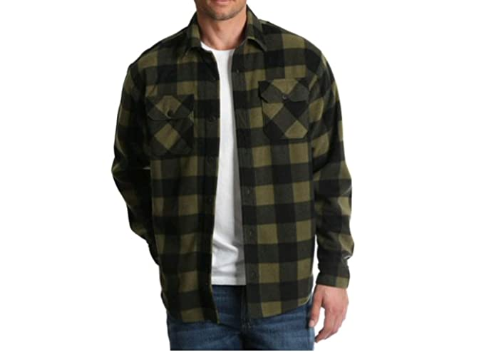 9d86b7f04f0 Image Unavailable. Image not available for. Color  Wrangler Mens Long  Sleeve Fleece Flannel Shirt (Small 34 36 ...