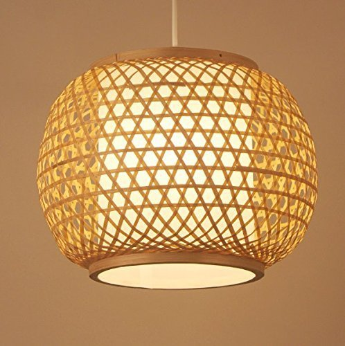 Arturesthome Chinese Rustic Handwoven Bamboo Pendant Lights, Southeast Asia E27 LED Lamp, Bamboo Hanging Lamp