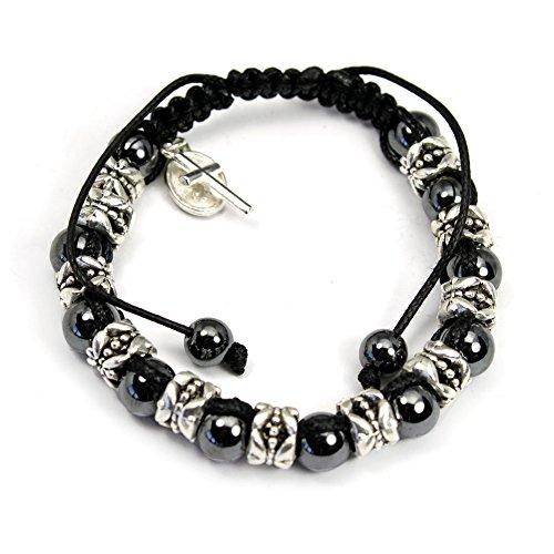 Hematite Beads Rosary Bracelet on Wax String