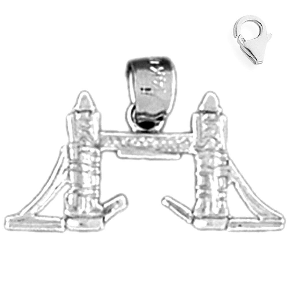 Sterling Silver 12mm 3D London Tower Bridge with 7.5 Charm Bracelet Jewels Obsession 3D London Tower Bridge Pendant