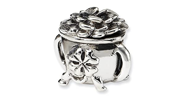 Sterling Silver Jewelry Themed Beads Solid 11.82 mm 8.18 mm Reflections Pot-of-Bead
