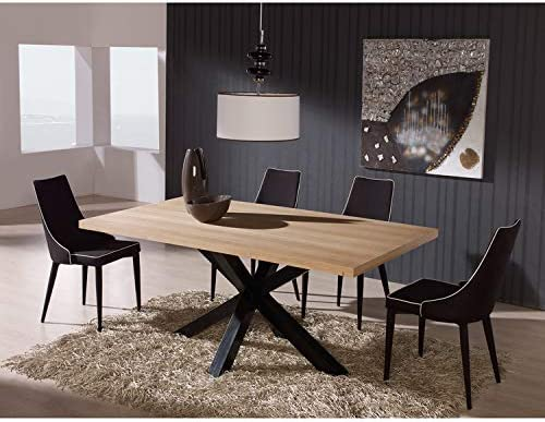 Marckeric Table Salle A Manger Rectangulaire En Bois Et Pieds Noir