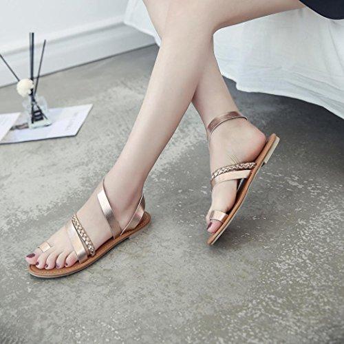 HUHU833 Women Summer Strappy Gladiator Low Flat Heel Flip Flops Beach Sandals Shoes Rose Gold yxnanvF