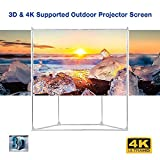 Excelvan 100-Inch 16:9 Outdoor Projector Screen Wrinkle-Free with Trapezoid Base Stand Portable with Transportable Bag and Full Set for Installing Outdoor Camping Picnic Movies