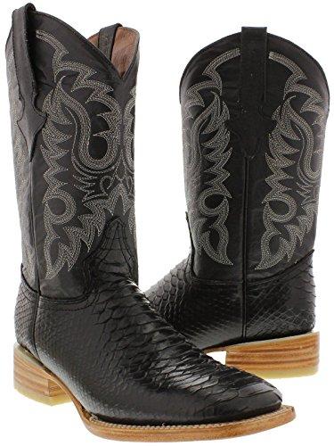 Team West - Men's Black Python Snake Print Leather Cowboy Boots Square Toe 10.5 E US