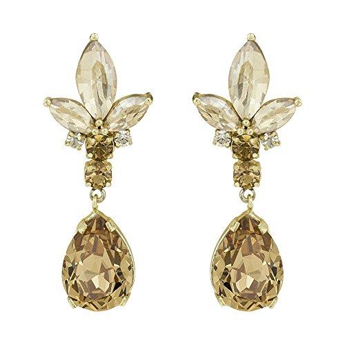 Stud Earrings, Crystal Earring, Fashion Jewelry for Women, Christal Golden Shadow, Topaz