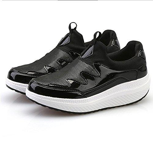 Snuggl Womens Low Top Mocassini Scarpe Fashion Platform Walking Sneakers Da Viaggio Da Ginnastica Nere