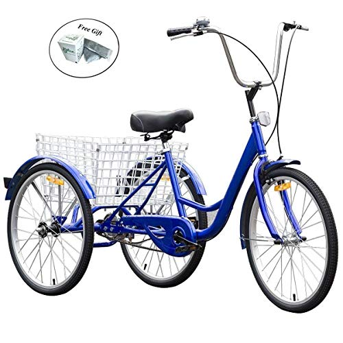 COSTWAY Single Speed 3 Wheel Bicycle Adult Tricycle Seat Height Adjustable Bell Blue Only by eight24hours