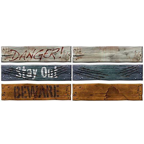Beistle 3-Pack Weathered Board Cutouts, -