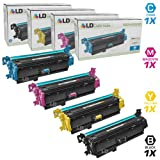 LD Remanufactured Replacements for HP 507X / 507A Set of 4 Toner Cartridges: 1 CE400X High Yield Black, 1 CE401A Cyan, 1 CE402A Yellow, and 1 CE403A Magenta