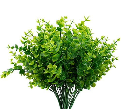 Foraineam 12 pcs Artificial Greenery Foliage Plants Fake Eucalyptus Leaves Faux Shrubs Bushes for Indoor Outdoor Decoration