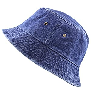 The Hat Depot High Quality Washed Cotton Denim Bucket Hat