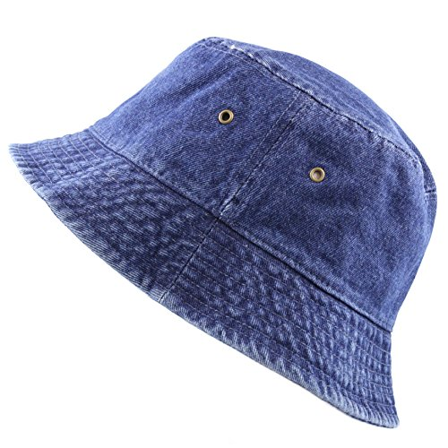 THE HAT DEPOT Washed Cotton Denim Bucket Hat (L/XL, Dark Denim) -