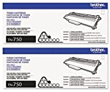 Genuine Brother TN-750 (TN750) High Yield Black Toner Cartridge 2-Pack