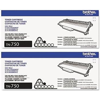 Genuine Brother TN-750 (TN750) High Yield Black Toner Cartridge 2-Pack
