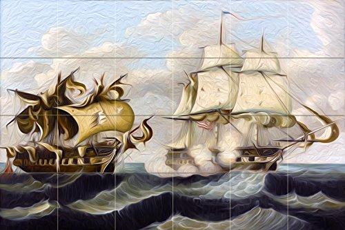 CAPTURE by Thomas Chambers sea fight ships waves water Tile Mural Kitchen Bathroom Wall Backsplash Behind Stove Range Sink Splashback 6x4 4.25'' Ceramic, Matte by FlekmanArt