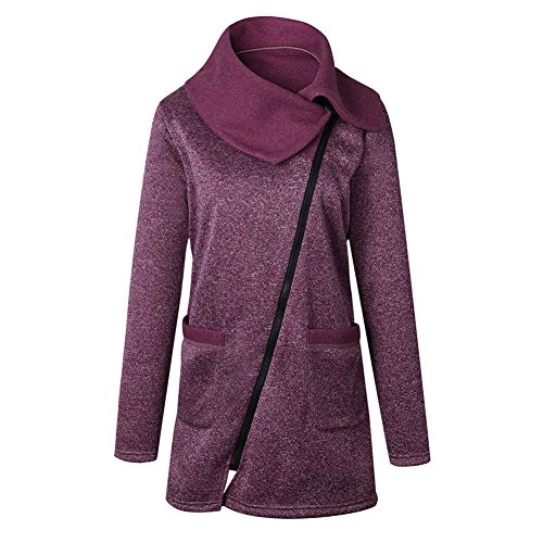 largo Outwear tamaño Coat alto Púrpura con bolsillos más Deylaying sudadera invierno Casual Mujeres cremallera cuello Único Jacket qTXTUp