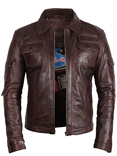 "Brandslock Vintage Mens Leather Biker Jacket Slim Fit Outwear â–ºBest SELLERâ—"" (XSmall, Brown)"