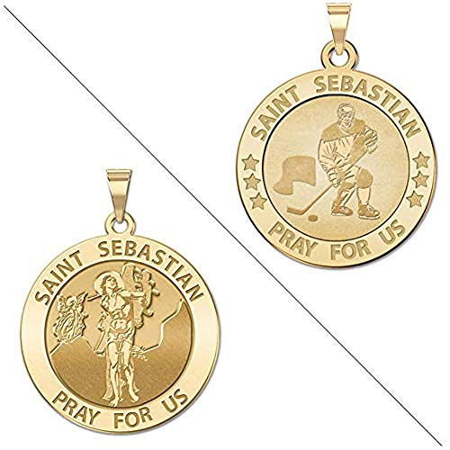 PicturesOnGold.com Hockey - Saint Sebastian Doubledside Sports Religious Medal - 2/3 Inch Size of Dime, Sterling Silver