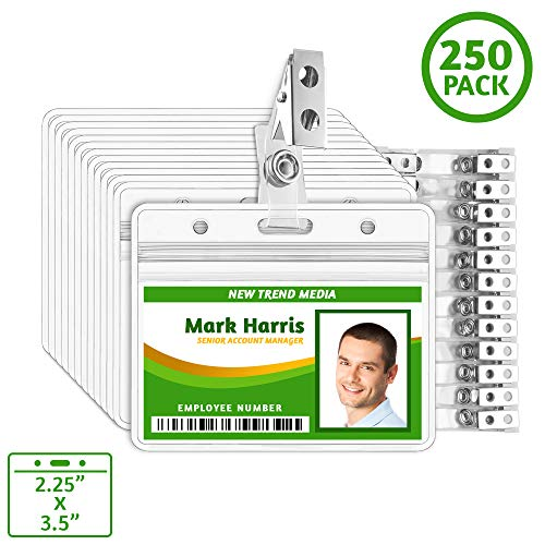 EcoEarth Horizontal ID Badge Holder with Metal Clips (Sealable Fits 2.25