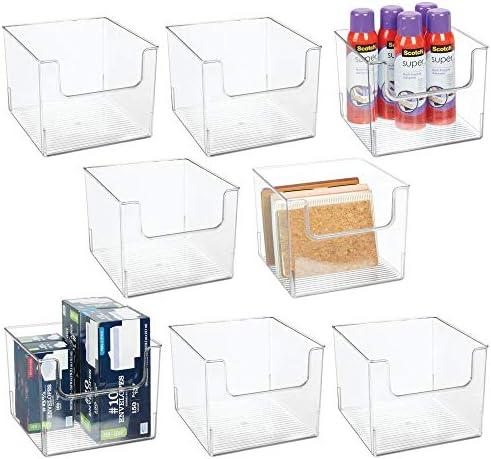 mDesign 8er-Set Schreibtisch Organizer – Aufbewahrungsbox für Stifte, Radiergummis, Klebeband, Lineale und Bastelutensilien – Schreibtischablage mit offener Vorderseite – durchsichtig