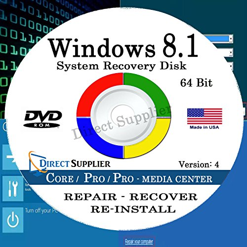 WINDOWS 8.1 - 64 Bit DVD SP1, Supports CORE, PROFESSIONAL and PROFESSIONAL with MEDIA CENTER. Recover, Repair, Restore or Re-install Windows to Factory Fresh! (Windows 8 Pro Oem compare prices)