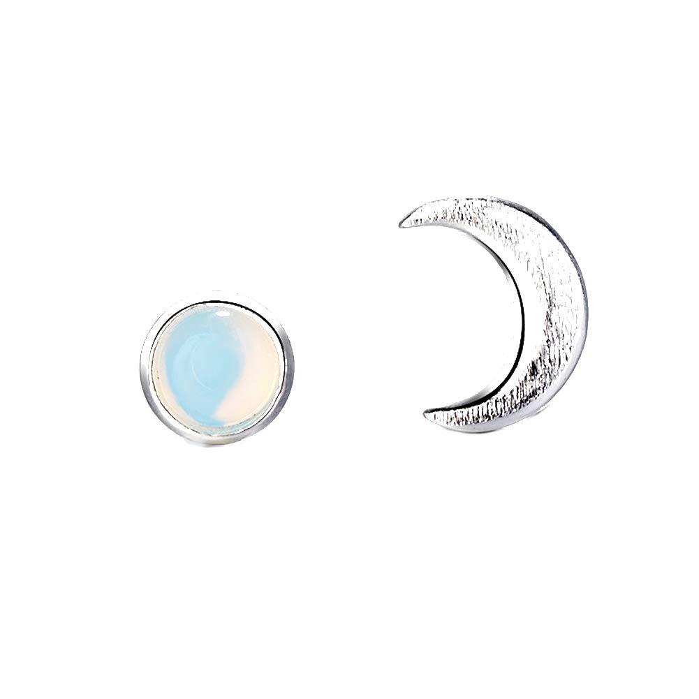 Polytree Earrings, Sun Moon Shape Asymmetrical Faux Moonstone Ear Stud Jewelry Gift for Womens Girls Charm Accessories