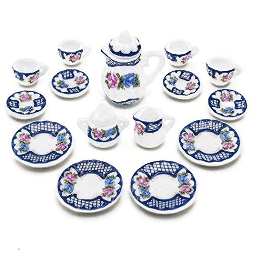 Odoria 1:12 Miniature 15PCS Porcelain Vintage Tea Cup Set Dollhouse Kitchen (Vintage Dolls House)
