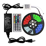 WenTop Led Strip Light Kit 24V UL Listed Power Supply 32.8ft(10M) 5050 RGB 300LEDs Color Changing Non-Waterproof Led Tape Lights with 44key Remote and for Kitchen Cabinet, PC and Room Lighting