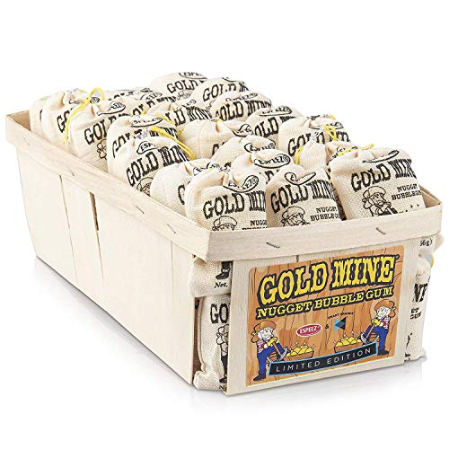 Old Fashioned Bubble Gum Candy: Fruit Flavor Chewing Gum in Individual Drawstring Bags by Espeez - Candy Buffet Vintage Bulk Candy Packs for Parties and Special Events - Gold Mine Nugget Gum - 48 Bags]()