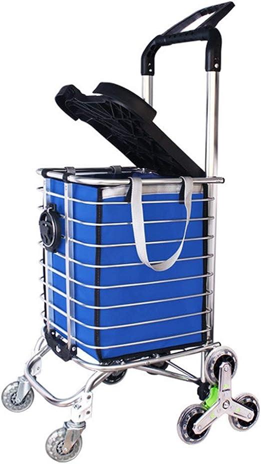 Carritos de la Compra Escalera de Escalada Carrito de Compras Ligera aleación de Aluminio 8 Ruedas Carro Grande Cesta de supermercado Plegable con Asiento/portavasos en Azul Bolsillo de Comp: Amazon.es: Hogar