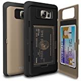 Galaxy Note 5 Case, TORU [Note 5 Wallet Case Gold] Protective Slim Fit Dual Layer Hidden Credit Card Holder ID Slot Card Case with Mirror for Samsung Galaxy Note 5 - Gold