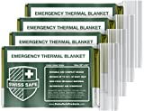 Swiss Safe Emergency Mylar Thermal Blankets (4-Pack) + Bonus Signature Gold Foil Space Blanket: Designed NASA – Perfect Outdoors, Hiking, Survival, Marathons First Aid