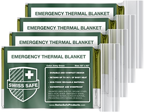 Swiss Safe Emergency Mylar Thermal Blankets (4-Pack) + Bonus Signature Gold Foil Space Blanket: Designed for NASA, Outdoors, Hiking, Survival, Marathons or First Aid -