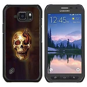 Caucho caso de Shell duro de la cubierta de accesorios de protección BY RAYDREAMMM - Samsung Galaxy S6Active Active G890A - Cráneo Nasty Evil