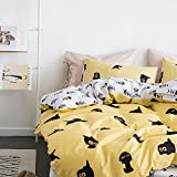 VClife Cotton Twin Cartoon Bedding Sets-Cute Fish Bones Cat Animal Reversible Duvet Cover Sets, Yellow White Black Bedding Comforter Cover with Pillow Shams, Plush Hypoallergenic, Durable (Cat, Twin)