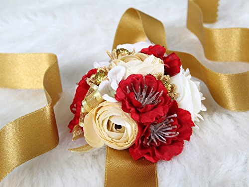 Crown Art Deco Vase (Pretty bridesmaid wrist Corsage Rose Flower Wedding Bridal (Red))