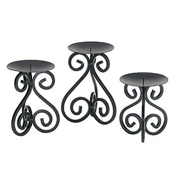 Home Locomotion Black Iron Candleholders Set