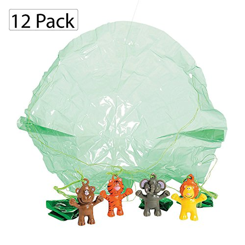 Zoo Animal Paratroopers - Pack Of 12 - 1.5 Inches Assorted Colored Animals - For Kids Great Party Favors, Bag Stuffers, Fun, Toy, Gift, Prize, Piñata Fillers - By Kidsco