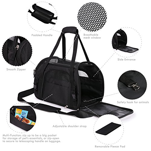 """Jespet Soft Sided Pet Carrier Comfort 17"""" for Airline Travel, Portable Dog Tote Bag for Small Animals, Cats, Kitten, Puppy, Black by Jespet (Image #1)"""