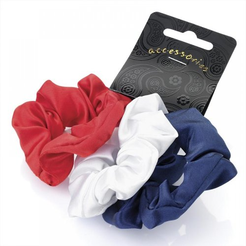 Set of 3 Blue Red and White Satin Feel Hair Scrunchies Bobbles Hair Bands