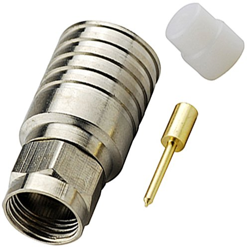 Bingfu RF Connector Standard 50 Ohm F-Type Plug with Male Center Pin for RG11 Applied Head End Equipment Set Top Boxes CATV High Speed Cable Modems CIMs Hybrid Fiber Coax Networks (Pack of 100)