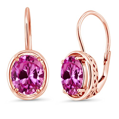 Earrings Pink Oval Sapphire (4.80 Ct Oval Pink Created Sapphire 18K Rose Gold Plated Silver Dangle Earrings)