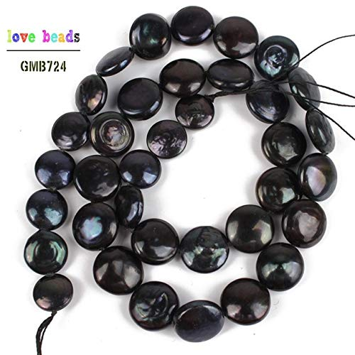 Calvas 12-15mm Natural Irregular Coin Freshwater Pearl Beads for Jewelry Making DIY Pearl Necklace Bracelet Jewellery 15'' - (Color: Black) ()