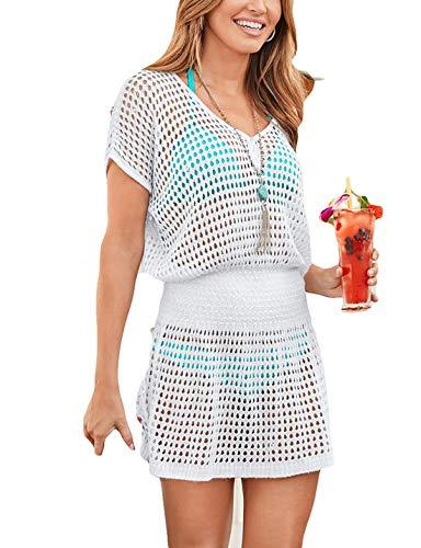 (Ailunsnika Women White V Neck Knitted Hollow Out Swimsuit Cover Up Crochet High Waist Short Tunic Beach Dress)